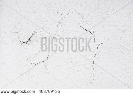 White Paint Asphalt Cracks Texture. Scratched Lines Background. White And Black Distressed Grunge Co