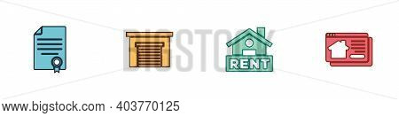 Set House Contract, Garage, Hanging Sign With Rent And Online Real Estate House Icon. Vector