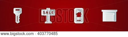 Set House Key, Hanging Sign With Sale, Online Real Estate House And Garage Icon. Vector