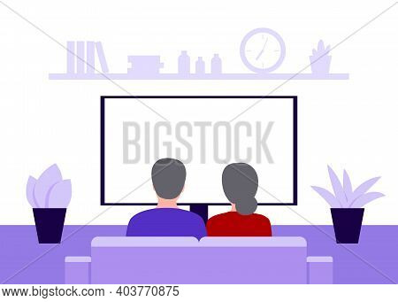 Family Senior Couple Man And Woman Sitting On Sofa At Home And Watching Tv, Back View. Elderly Peopl