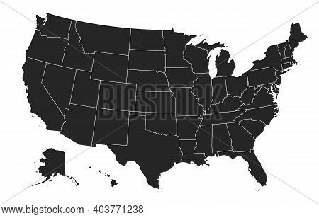 Black United States Of America Map. Us Background Template. Map Of America With Separated Countries