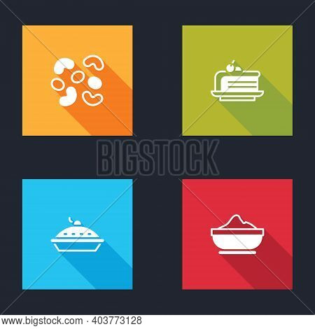 Set Jelly Candy, Piece Of Cake, Homemade Pie And Flour Bowl Icon. Vector