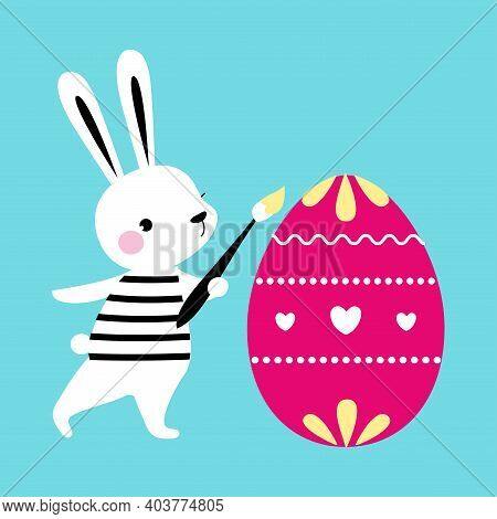 Cute Little Bunny Painting And Decorating Egg, Adorable White Easter Rabbit, Easter Egg Hunt Card, P