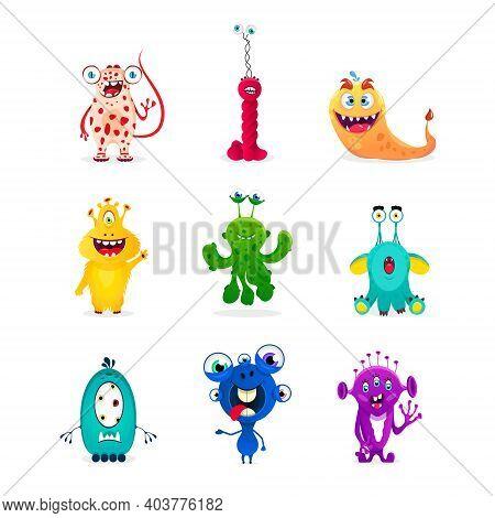 Set Of Funny Cartoon Emotions Monsters: Goblin, Troll, Cyclops, Ghost, Monsters, Aliens. Halloween D