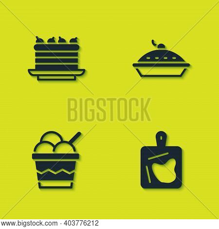 Set Cake, Cutting Board, Ice Cream Bowl And Homemade Pie Icon. Vector