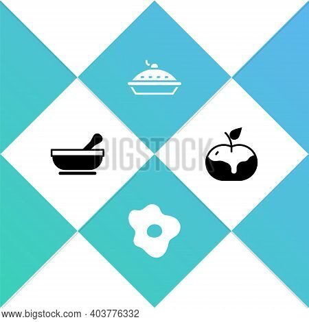 Set Mortar And Pestle, Scrambled Eggs, Homemade Pie And Apple In Caramel Icon. Vector