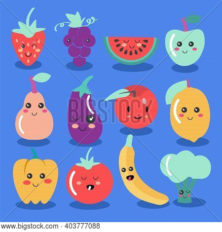 Cute Kawaii Fruit And Vegetable Icon Set. Vector Collection Of Cute Fruit And Veg Illustration.