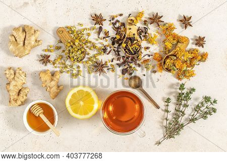 Cup Of Freshly Brewed Fruit And Herbal Tea With Honey, Lemon, And Ginger. Healthy Concept, Remedy Fo