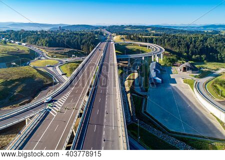 New Motorway In Poland On National Road No 7, E77, Called Zakopianka.  Overpass Crossroad With A Tra