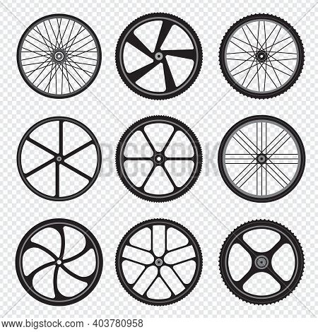 Bike Wheels. Motor Bicycle Round Shapes Circle Stylized Fitness Activity Symbols.. Rubber Gear Wheel