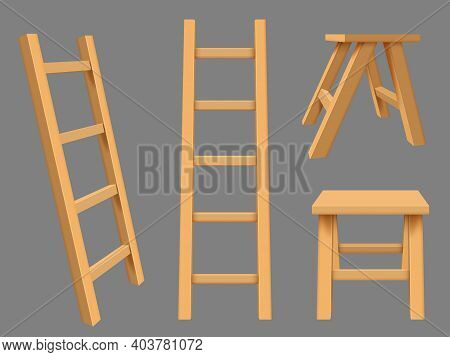 Interior Ladders. High Rise Household Objects Wooden Ladders Vector Realistic Set. Illustration Step