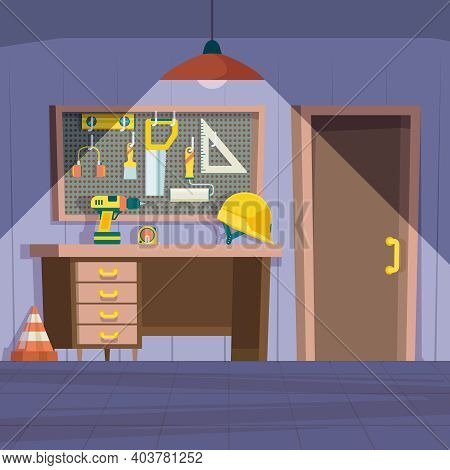 Workshop Room. Garage Interior With Repair Tools On Wall Hammer Saw Paint Workbench Garish Vector Ca