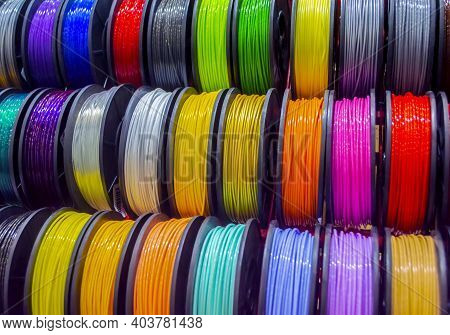 Multicolored Filaments Of Plastic For Printing On 3d Printer Close-up