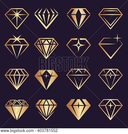 Diamond Logo. Stylized Geometrical Jewelry Brilliants And Diamond Stones Recent Vector Collection. B