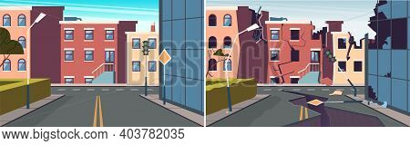 Urban Landscape. Damaged City Earthquake, Broken Road And Buildings. Whole And Destroyed City Vector