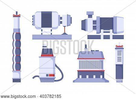 Water Pump Set. Industrial Station With Pumped Diesel Motors Supply Tank Tubes Factory Machines Gari