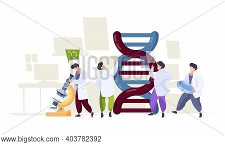 Dna Technology. Scientists Learning Biological Genetics Integrative Dna Research Laboratory Characte