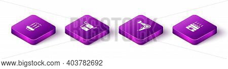 Set Isometric Incense Sticks, Towel On A Hanger, Hair Dryer And Hot Sauna Stones Icon. Vector