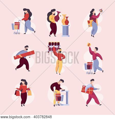 Buyers In Shop. Supermarket Characters With Basket And Products Shelves Garish Vector Buyers. Superm