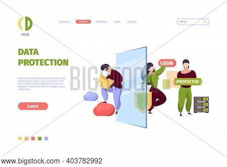 Bigdata Security. Firewall Safe Protective Services Personal Data Cyber Security Garish Vector Symbo