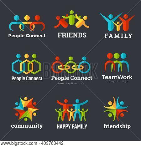 Friendship Logo. Business Community Partnership Team Works Family Union Recent Vector Symbols. Frien