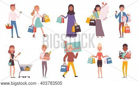 Buyers. Retail Supermarket Buyers With Shopping Bags Shopaholic Persons Nowaday Vector Characters. B