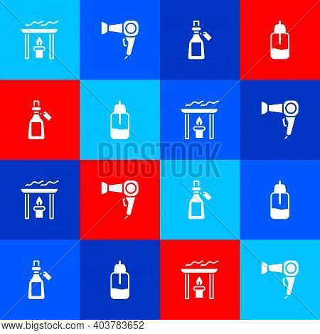 Set Aroma Candle, Hair Dryer, Essential Oil Bottle And Icon. Vector