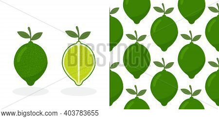 Lime With Green Leaves, Slice Citrus Isolated On White Background. Tropical Fruits. Raw Vegetarian F