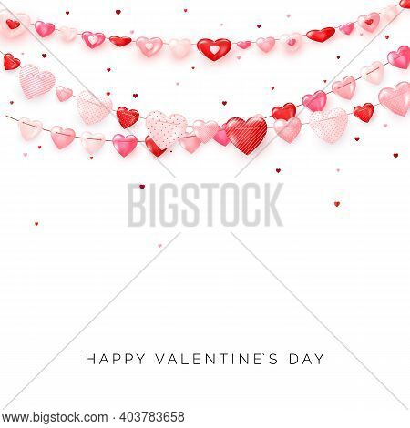 Garlands Of Hearts On White Background. Valentine's Day Or Wedding Day Decoration Elements. Vector