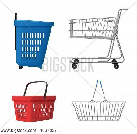 Shopping Cart Realistic. Grocery Bag For Retail Product Decent Vector Illustrations Template. Cart R