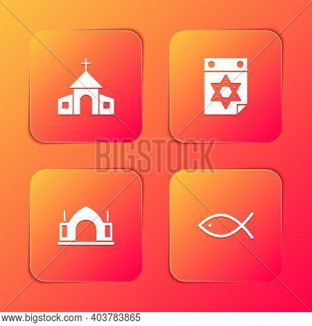 Set Church Building, Jewish Calendar, Hindu Spiritual Temple And Christian Fish Icon. Vector