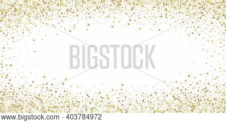 Gold Stars Luxury Sparkling Confetti. Scattered Small Gold Particles On White Background. Extraordin