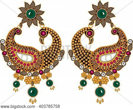 Designer Jewelry Ear Rings With Precious Stones