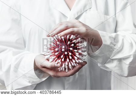 Doctor In A White Coat Is Holding A Model Of The Virus From Cotton Swabs. Coronavirus Or Flu Infecti