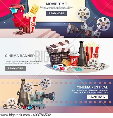 Cinematography Flat Horizontal Banners With Movie Time And Cinema Festival Design Compositions In Re