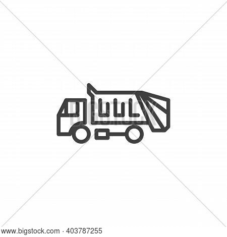 Garbage Truck Line Icon. Linear Style Sign For Mobile Concept And Web Design. Garbage Truck Transpor