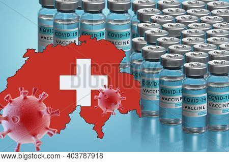 Switzerland To Launch Covid-19 Vaccination Campaign. Coronavirus Vaccine Vials, Covid 19 Cells, Map