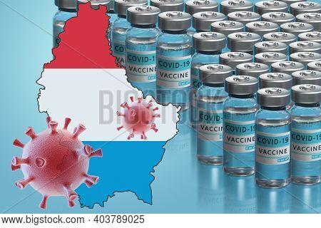 Luxembourg To Launch Covid-19 Vaccination Campaign. Coronavirus Vaccine Vials, Covid 19 Cells, Map A