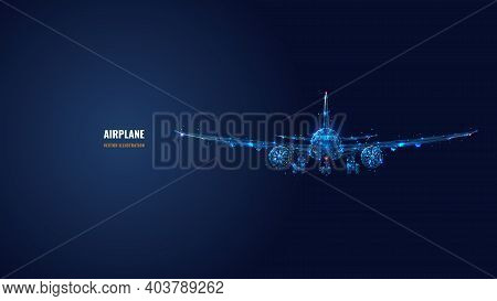 3d Airplane Isolated In Dark Blue. Abstract Vector Wireframe Of Airliner. Travel, Tourism, Business,