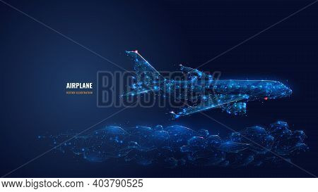 Digital 3d Airplane Flying Over Clouds. Abstract Vector Wireframe Of Airliner In The Sky. Travel, To