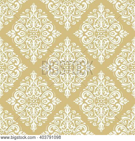 Orient Classic Golden And White Pattern. Seamless Abstract Background With Vintage Elements. Orient