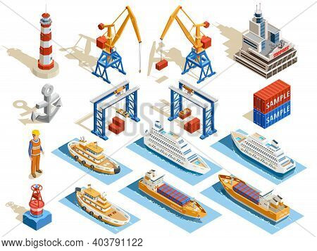 Seaport Isometric Set Of Industrial Cruise Ships Marine Tugs Worker Anchor Cranes Containers Lightho
