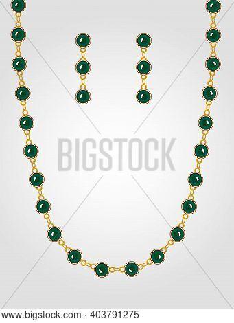 Designer Jewelry Set With Precious Stones Set
