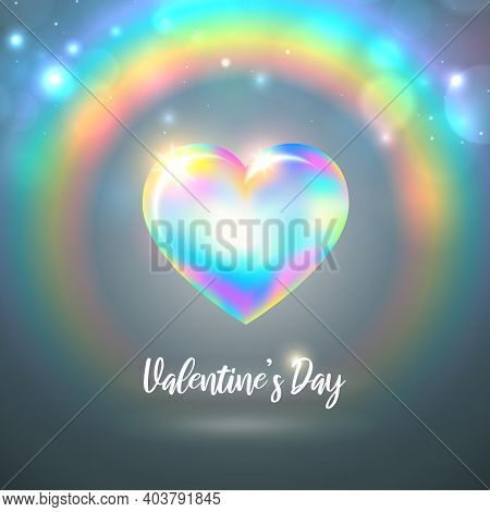 Valentine's Day Lgbt Card. Rainbow Shining Heart On Pastel Background With Rainbow And Bokeh. Happy