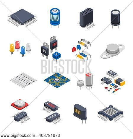 Isolated Semiconductor Electronic Components Isometric Icons Set With Circuit Board Elements Micropr