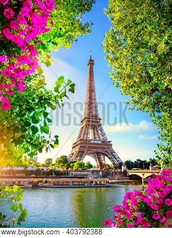 Seine In Paris With Eiffel Tower During Sunrise In Spring