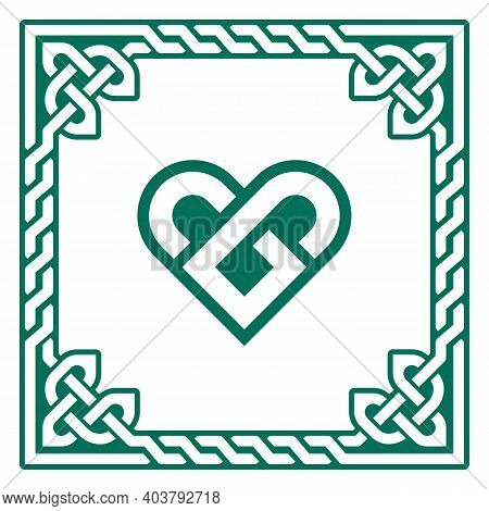 Celtic Green Heart Vector Greeting Card Design With Irish Braided Frame - Valentine's Day, Love Conc