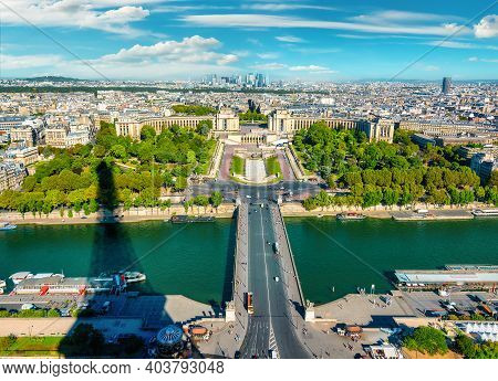 View On River Seine, Trocadero And La Defense From Eiffel Tower In Paris