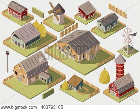 Set Of Isometric Farms With Mills Barn And Silo Hay Fence And Street Lamp Isolated Vector Illustrati