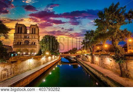 Sunrise Over Notre Dame De Paris And River Seine